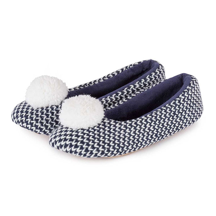 Isotoner Ladies Knitted Ballet with Pom Pom Slippers Navy/Cream