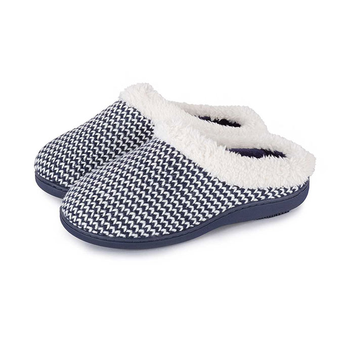 Isotoner Ladies Knitted Swept Back Mule Slippers with Fur Cuff Navy/Cream