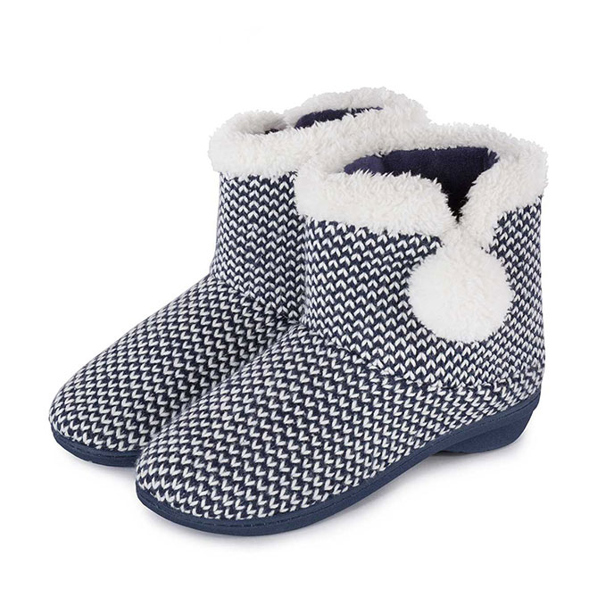 Isotoner Ladies Knitted Bootie Slippers with Pom Pom Navy/Cream