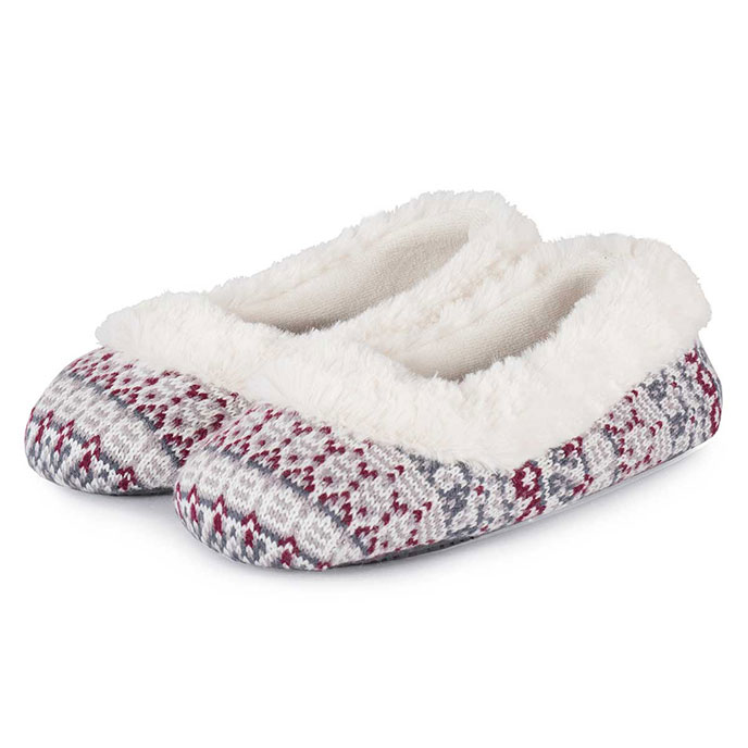 Isotoner Ladies Fair Isle Fullback Slippers Grey/Burgundy