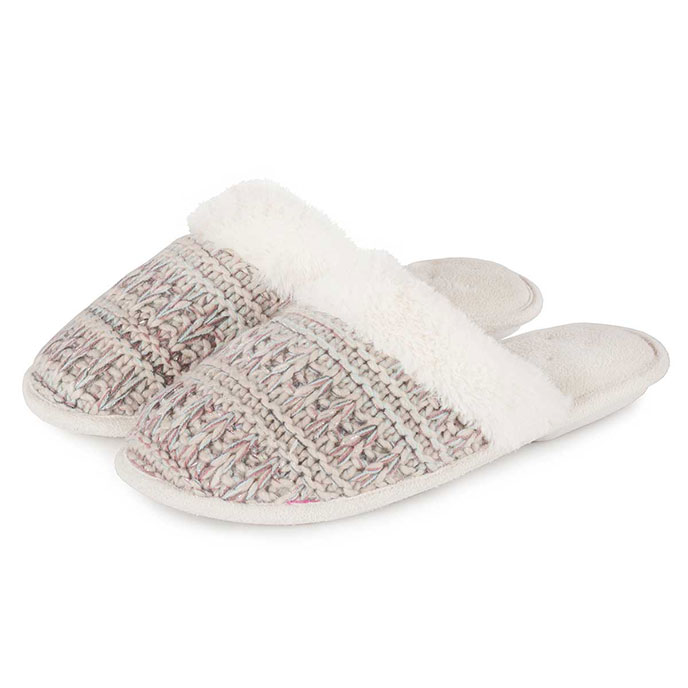 Isotoner Ladies Knitted Pillowstep Mule Slippers Beige/Pink
