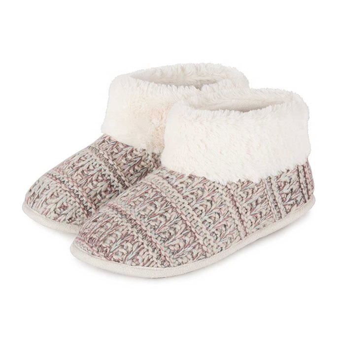 Isotoner Knitted Pillowstep Bootie Slippers Beige/Pink