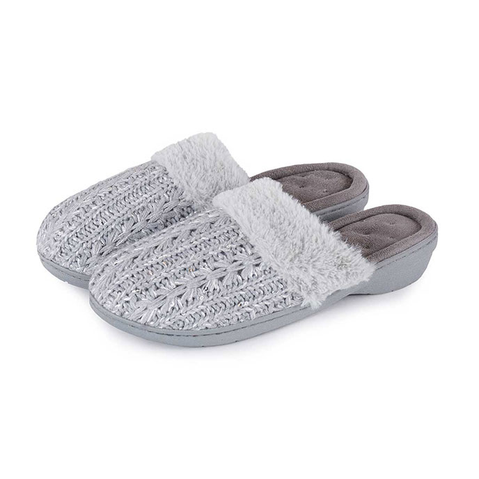 Isotoner Ladies Sparkle Knit Pillowstep Mule Slippers Grey