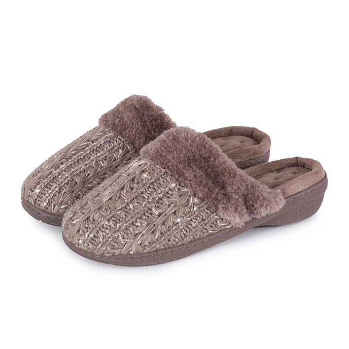 Isotoner Ladies Sparkle Knit Pillowstep Mule Slippers Mink