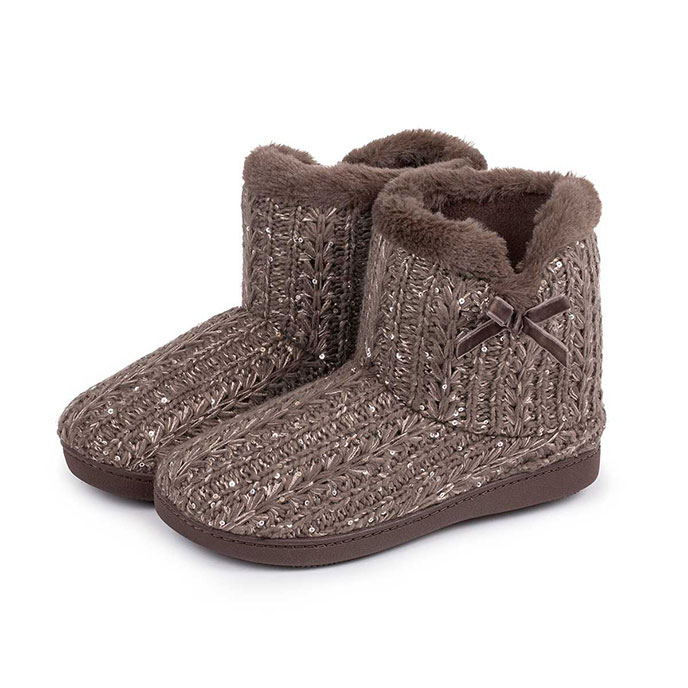Isotoner Ladies Sparkle Knit Pillowstep Bootie Slippers Mink