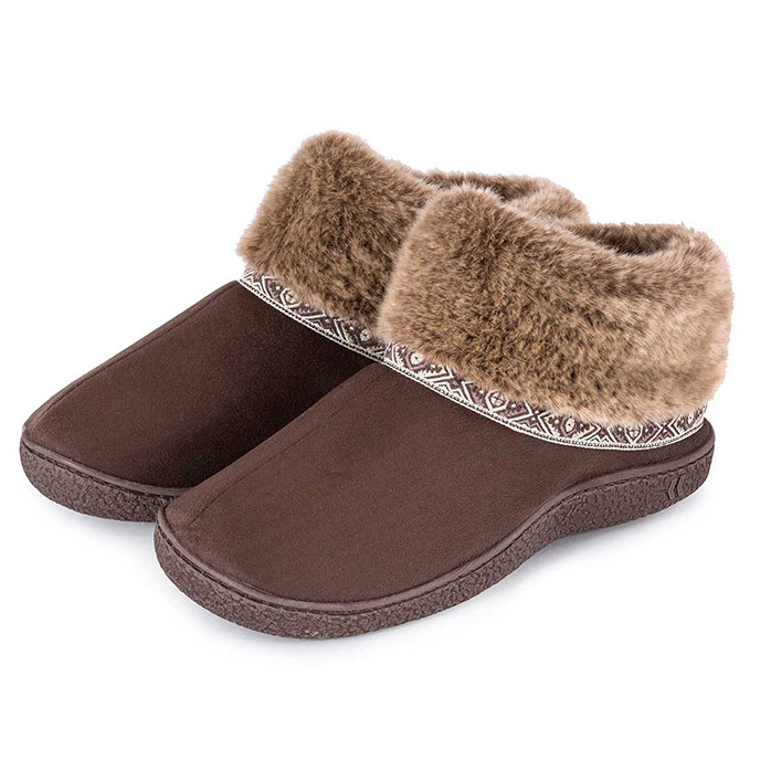 Isotoner Ladies Pillowstep Bootie Slippers with Fur Cuff Chocolate