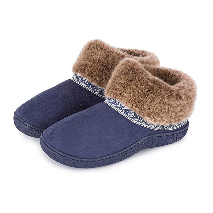Isotoner Ladies Pillowstep Bootie Slippers with Fur Cuff Navy