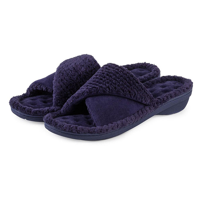 Isotoner Ladies Popcorn Turnover Open Toe Slippers Navy