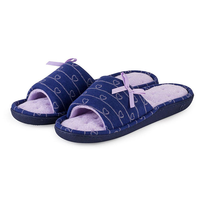 Isotoner Ladies Heart Patten Open Toe Slipper Navy / Lilac