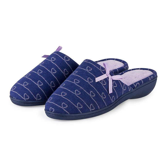 Isotoner Ladies Heart Patten Heeled Mule Slipper Navy / Lilac