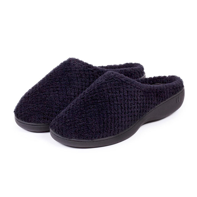 Isotoner Ladies Popcorn Terry Mule Slippers Black