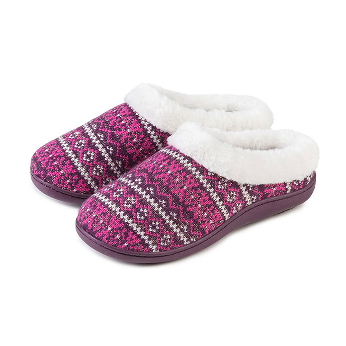 Isotoner Ladies Fair Isle Mule With PV Fur Berry