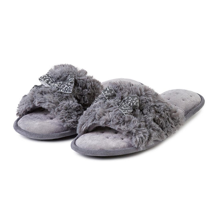 Isotoner Ladies Fluffy Slider Grey