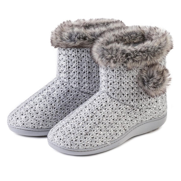 Isotoner Ladies Sparkle Knit Booties Grey