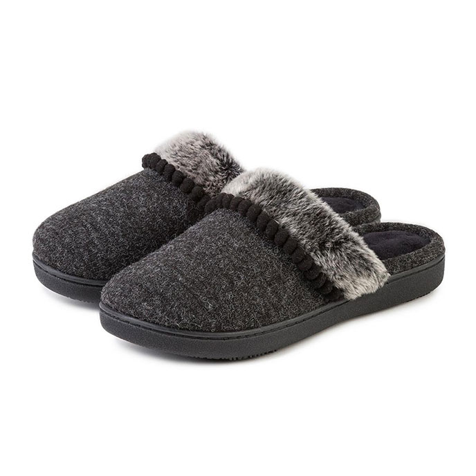 Isotoner Ladies Fine Knit Mules with Fur Cuff Black