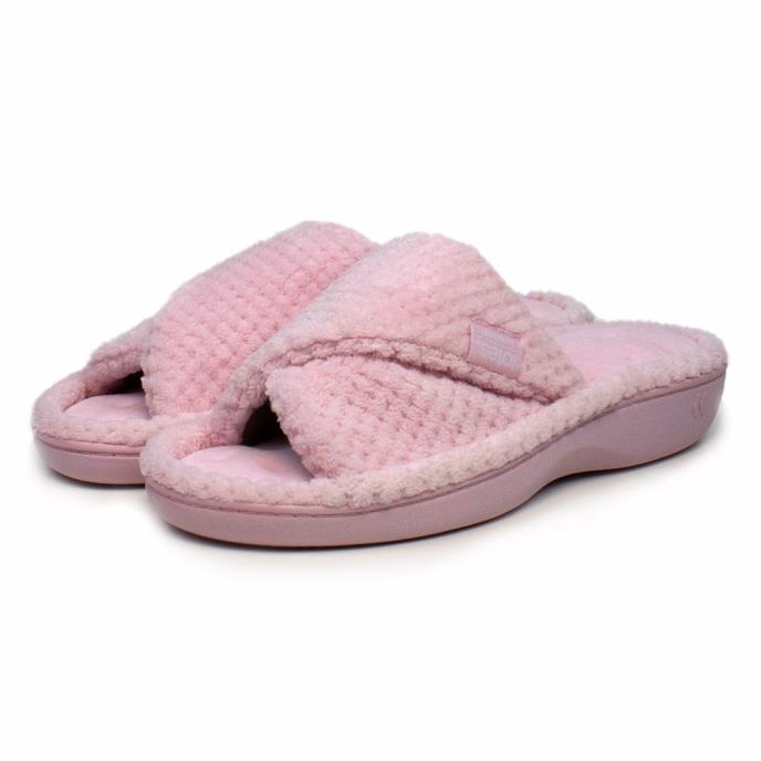 Isotoner Ladies Popcorn Turnover Open Toe Slippers Pink