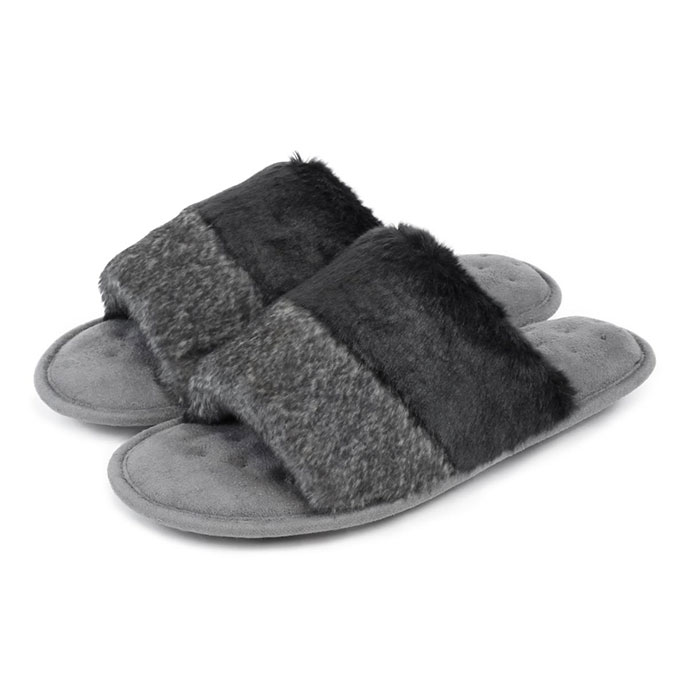 Isotoner Ladies Faux Fur Open Toe Slippers Grey