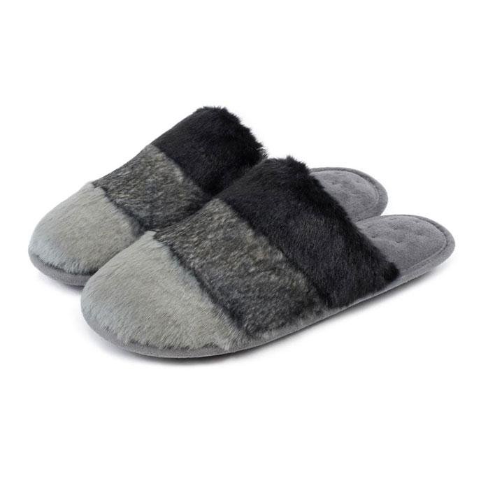 d5d4a0fc3143 Isotoner Ladies Faux Fur Mules Grey