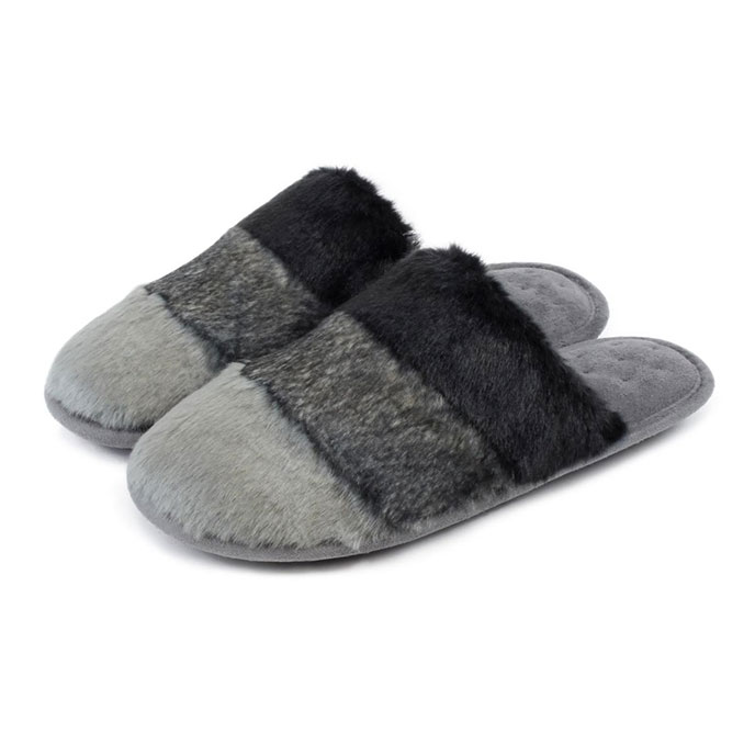 Isotoner Ladies Faux Fur Mules Grey
