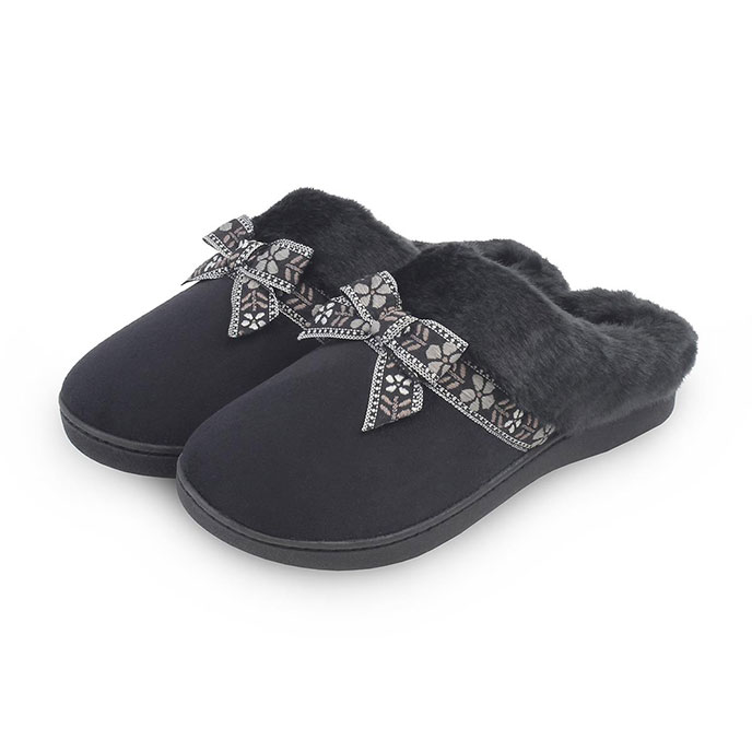 Isotoner Ladies Suedette Mules with Folk Tape  Black