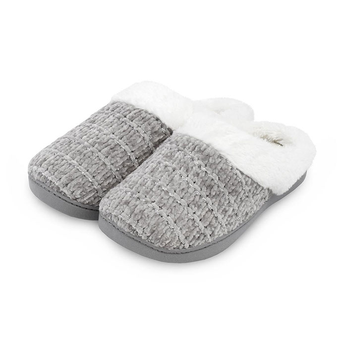 Isotoner Ladies Chenille Mules Grey