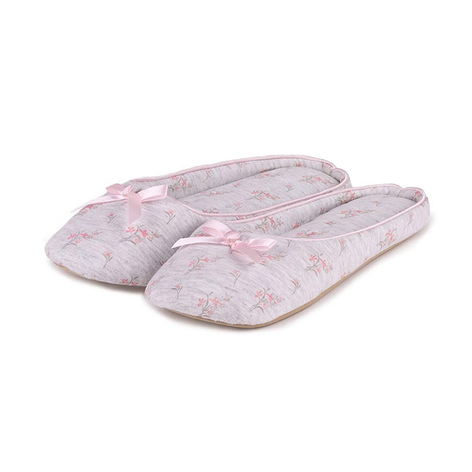 Isotoner Ladies Jersey Floral Mule Slippers Grey