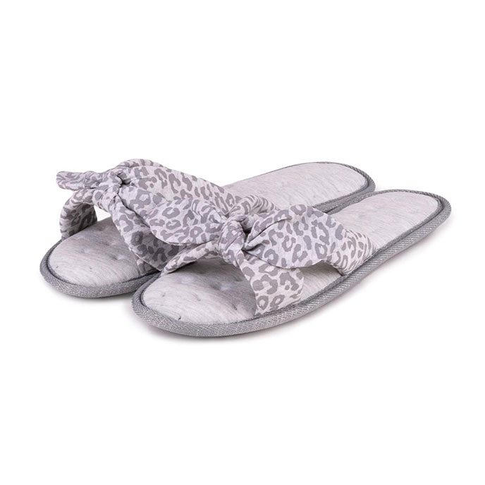 Isotoner Ladies Jersey Knot Front Open Toe Slippers Grey