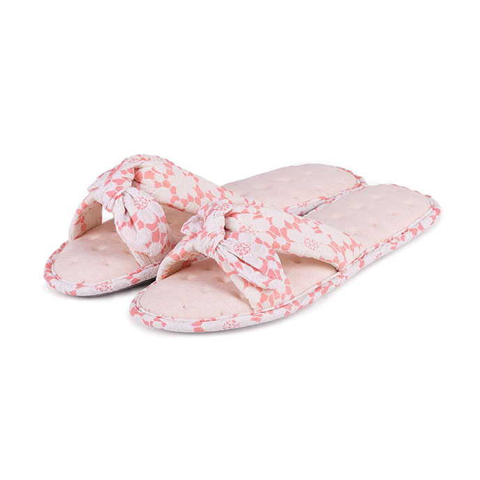 Isotoner Ladies Floral Knot Front Open Toe Slippers Coral