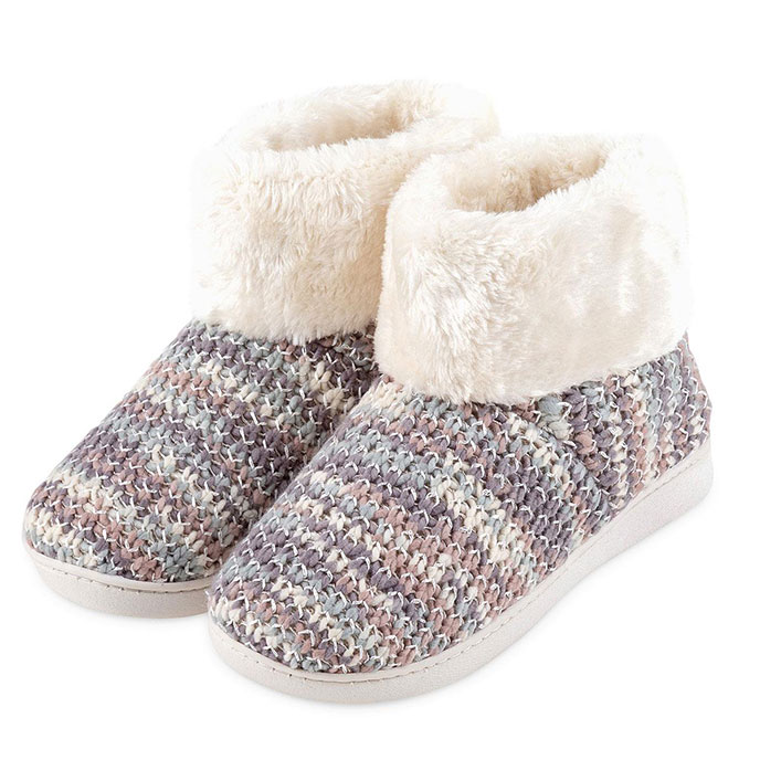 Isotoner Ladies Knit  Boot With Faux Fur Cuff Slippers Cream Multi