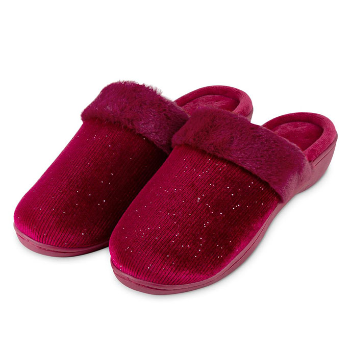 Isotoner Ladies Sparkle Velour Heeled Mule Slippers Berry