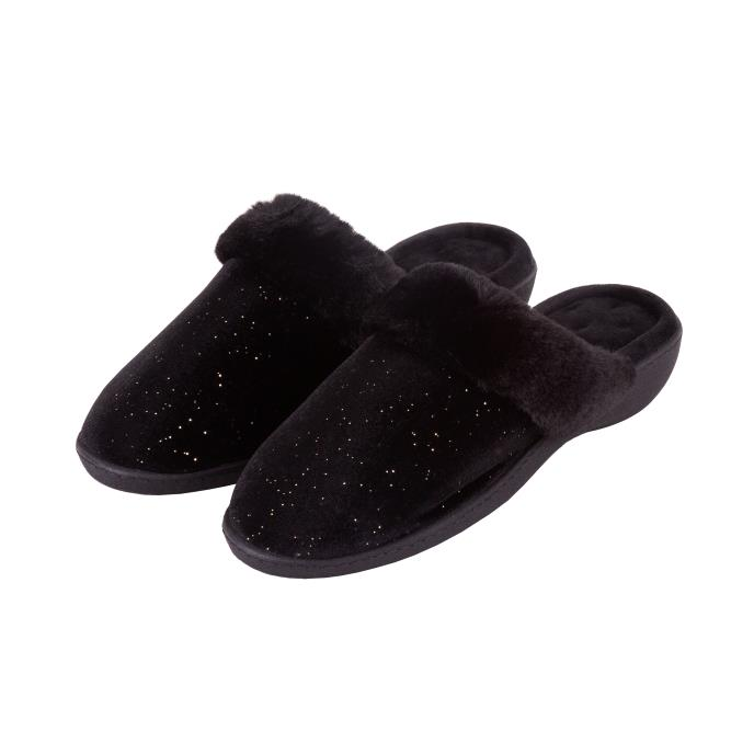 Isotoner Ladies Sparkle Velour Heeled Mule Slippers Black