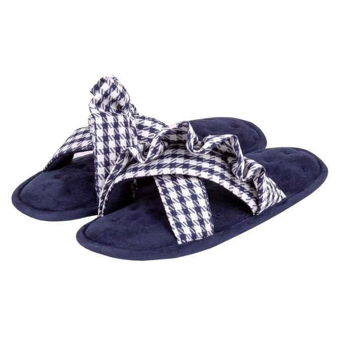 Isotoner Ladies Frill Open Toe Slippers Navy