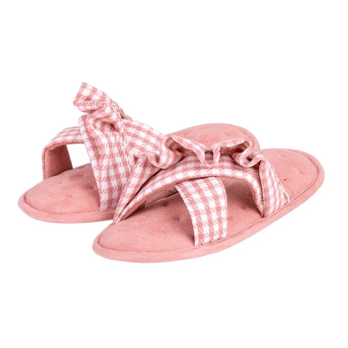 Isotoner Ladies Frill Open Toe Slippers Pink