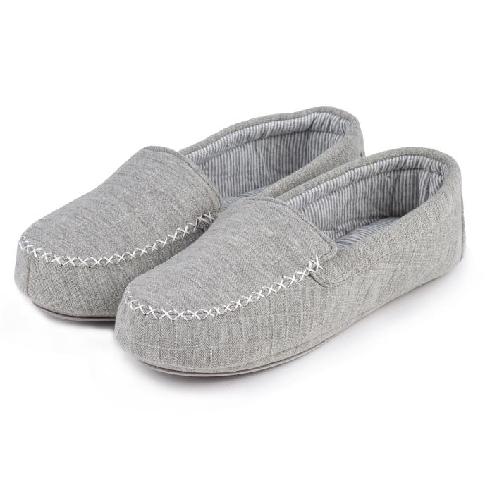 Isotoner Ladies Textured Moccasin Slippers Grey