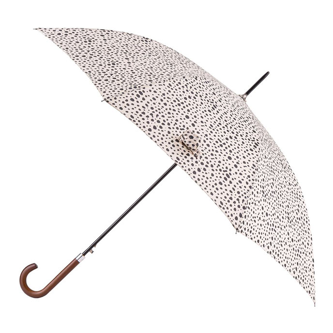 totes Auto Walker Wood Handle Dotty Animal Print Umbrella