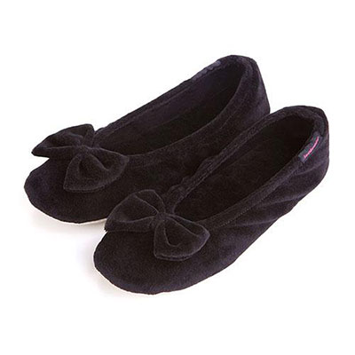 Isotoner Ladies Big Bow Ballerina Slippers Black