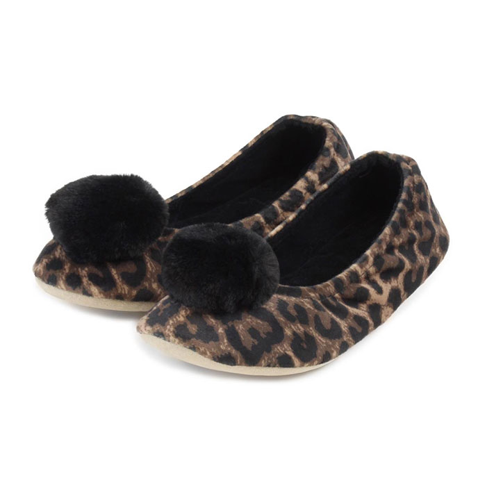 Isotoner Ladies Pom Pom Ballerina Slippers  Animal With Black