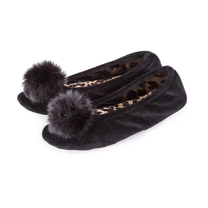 Isotoner Ladies Pom Pom Ballerina Slippers  Black with Panther