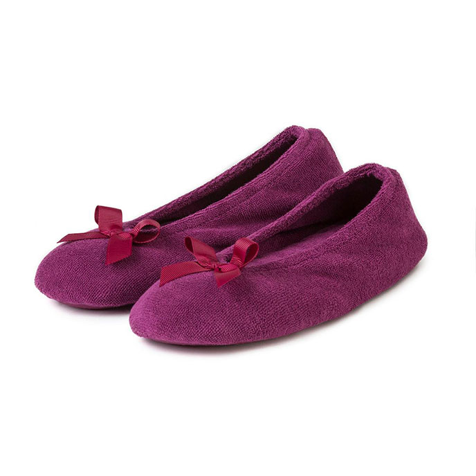 Isotoner Ladies Terry Ballerina Slippers Berry