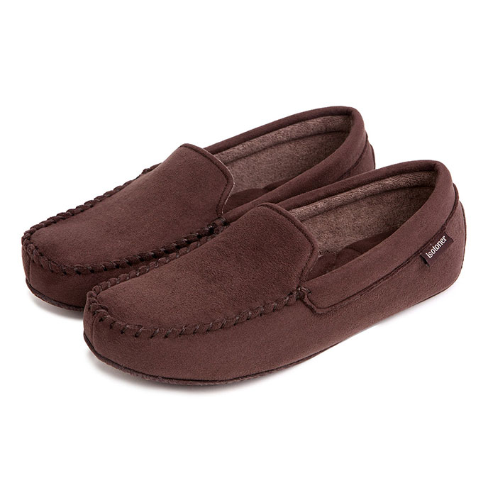 Isotoner Mens Driving Moccasin Slippers Brown