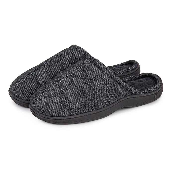 Isotoner Mens Denim Seam Mule Slippers Black Denim