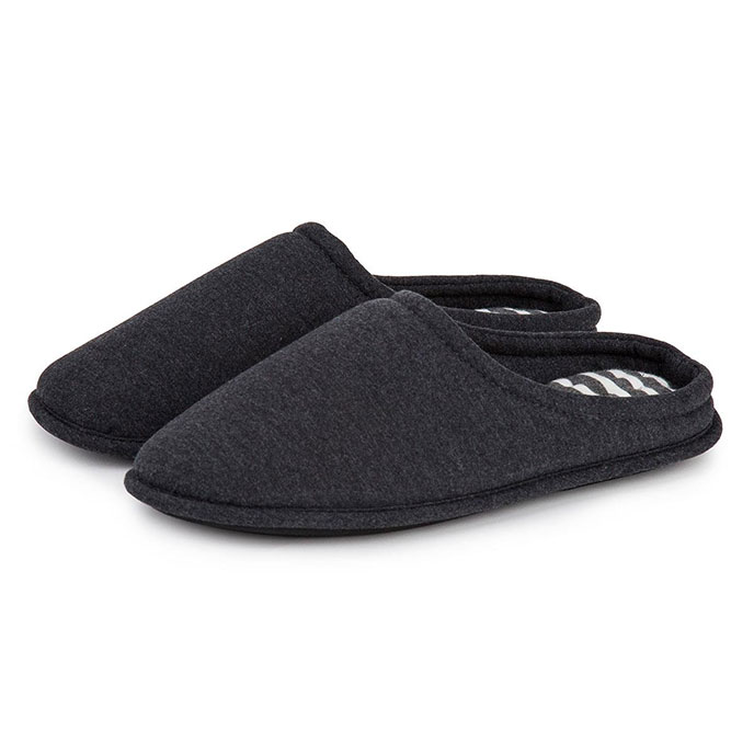 Isotoner Mens Stripe Mule Slippers Charcoal Grey