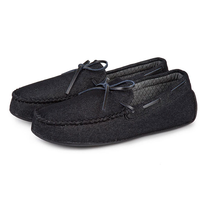 Isotoner Mens Denim Moccasin Slippers Black Denim