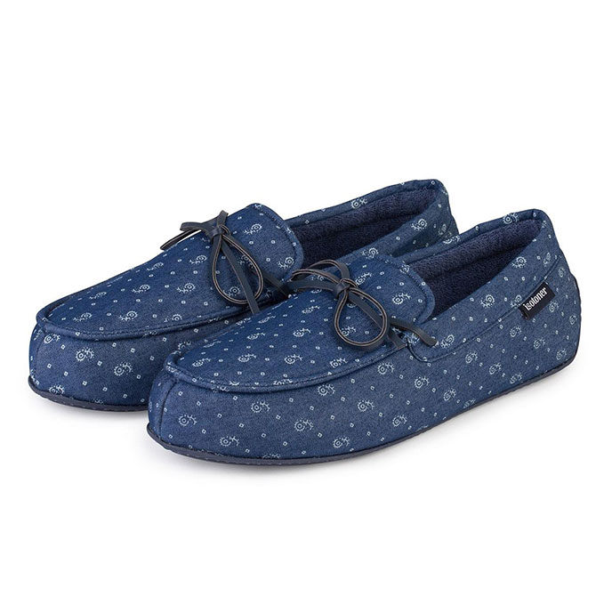 Isotoner Mens Paisley Lined Denim Moccasin Slippers Denim Paisley