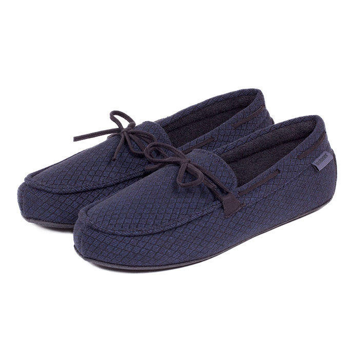 Isotoner Mens Driving Moccasin Slippers Navy Diamond