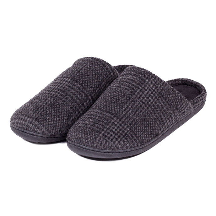 Isotoner Mens Woven Check Mule Slippers Grey Check
