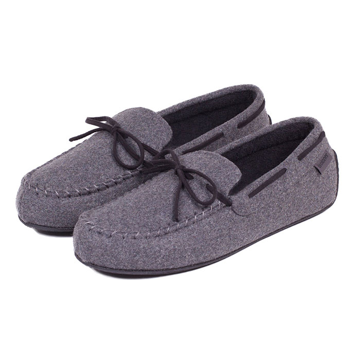 Isotoner Mens Woven Check Moccasin Slippers Grey