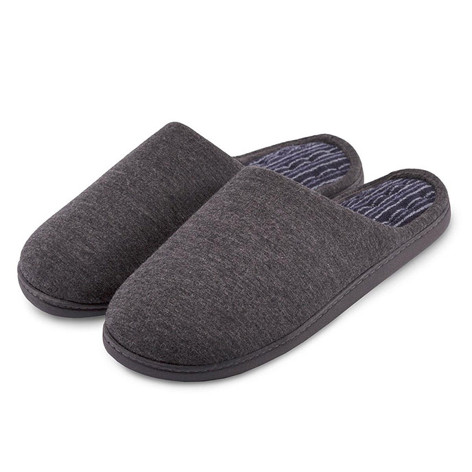Isotoner Stripe Pillowstep Mule Slippers Grey