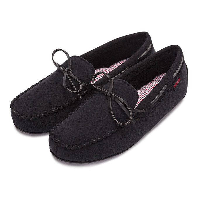 isotoner Mens Moccasin Slippers Black / Red Check Inner