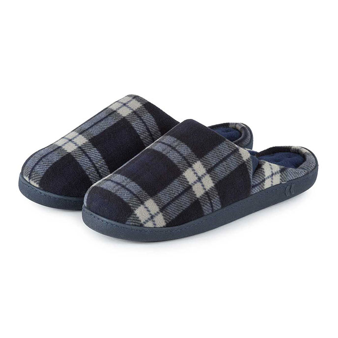 Isotoner Mens Fleece Check Pillowstep Mule Slippers Check with Navy